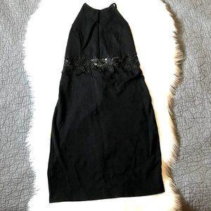 Solemio LA High Neck Open Back Black Dress, L